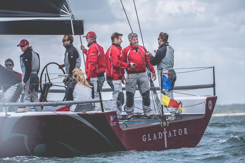 Gladiator TP52 - J.P. Morgan Round the island race 2015. World famous sailing race around the isle of Wight, held every year with more than 1,500 boats participating.